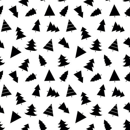 Seamless pattern with Christmas tree with toys. Red and white silhouette with black line.