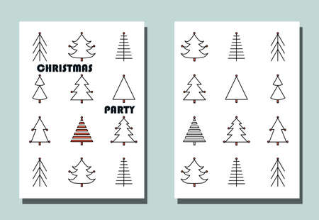 Trendy cover with graphic Christmas trees.Two vector flyers for holiday invitation.
