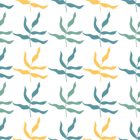 Seamless pattern with tropical leaves. Multicolored leaves on white backdrop Illusztráció