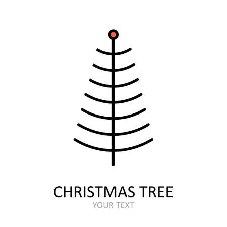 Vector outline icon with Christmas tree with toys. Red and white silhouette with black line.