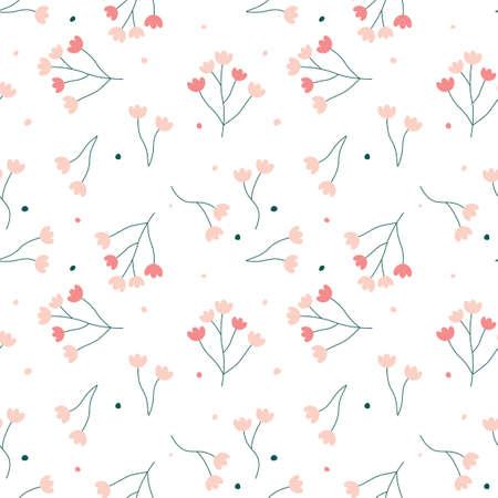 Seamless pattern with cute cartoon flowers and dots. Modern scandinavian style.