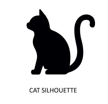 Vector drawing of cat. Black silhouette.