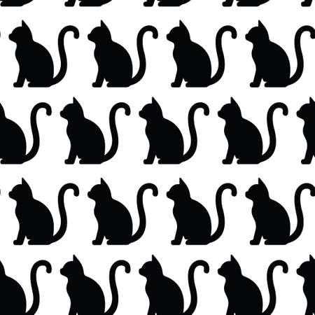 Seamless pattern with drawing of cat. Black silhouette. Illusztráció