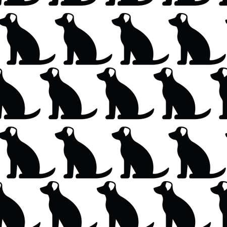 Seamless pattern with drawing of dog. Black silhouette. Illusztráció