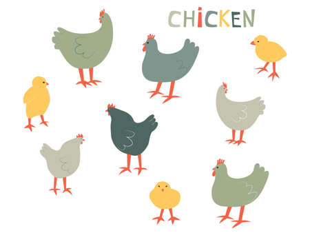 Vector illustration with chiken and chick. Cute cartoon characters.