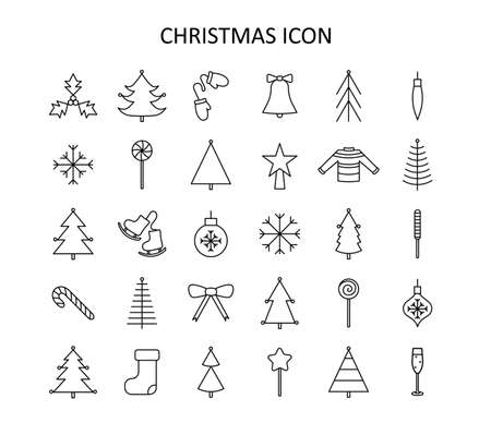 Vector outline icon set with Christmas stuff: tree, toys, mistletoe, candy cane, chapagne, mittens, star, sweater, skates, snowflakes, bow. Red and white silhouette with black line.