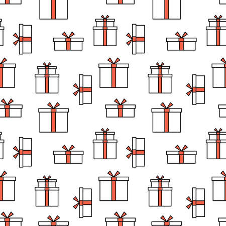 Seamless pattern with gifts. White and red silhouette with black line. Art can be used for celebrating card - bithdays, Christmas, Happy New Year. Illusztráció