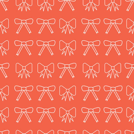 Seamless pattern with bows. Red and white silhouette with black line.