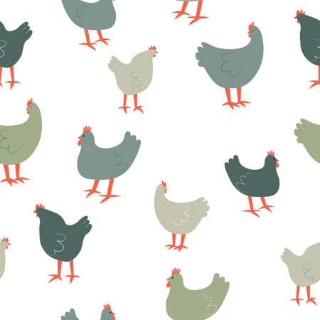 Seamless pattern with cute cartoon hens. Animal print.