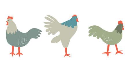 Vector illustration with rooster. Cute cartoon characters. Illusztráció