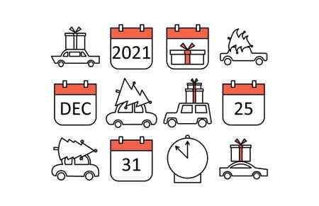 Icons on the New Year / Christmas theme: car carrying tree; calendar with holiday dates. Illusztráció