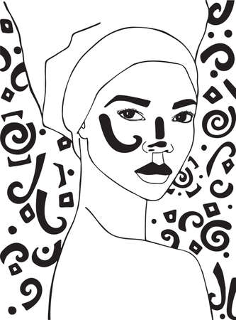 Fashion illustration of woman. Black and white graphic.