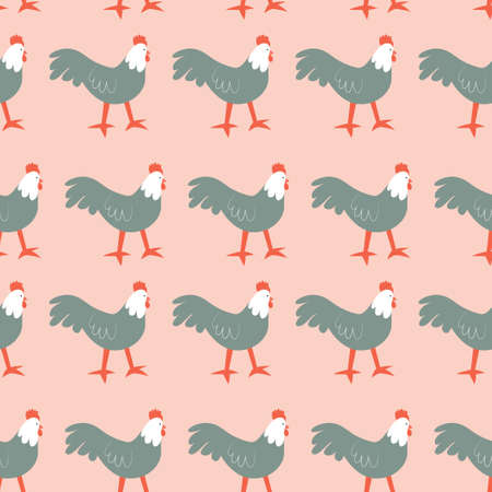 Seamless pattern with rooster. Cute cartoon characters. Animal print