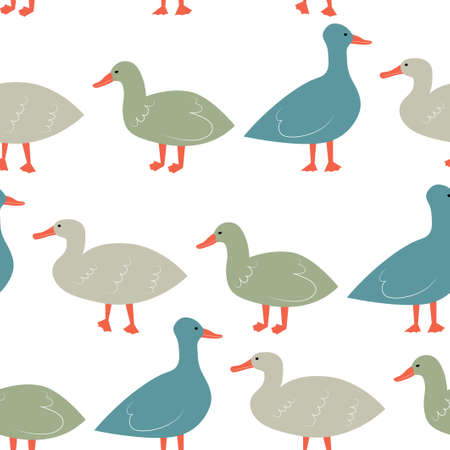 Seamless pattern with ducks. Cute cartoon characters.