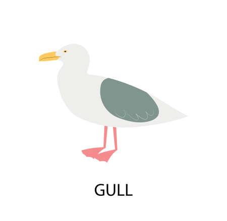 Illustration with gull. Cartoon character of bird.