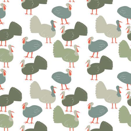 Seamless pattern with turkey. Cute cartoon characters. Illusztráció