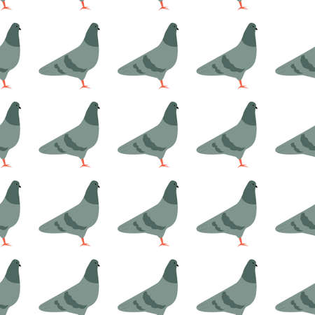 Seamless pattern with cute cartoon pigeions.
