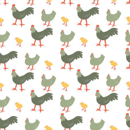 Seamless pattern with chiken, rooster and chick. Cute cartoon characters. Animal print.