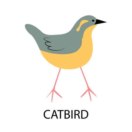 Illustration with catbird - cute cartoon character. Illusztráció
