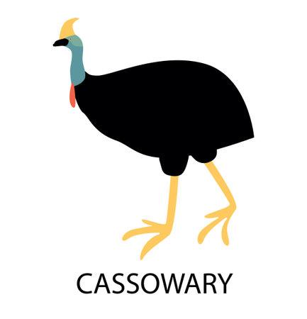Illustration with cassowary.Cute cartoon character. Australian bird Illusztráció
