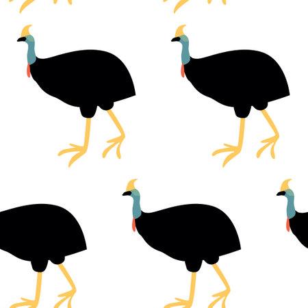 Seamless pattern with cassowary.Cute cartoon character. Australian bird