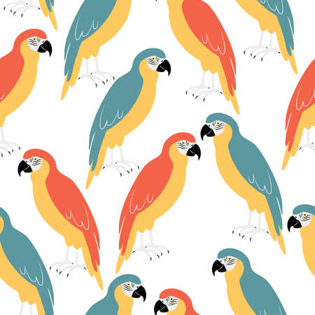 Seamless pattern with bright bird - macaw parrot.