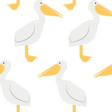Seamless pattern with pelican. Cute cartoon character Illusztráció