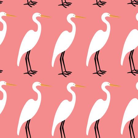 Seamless pattern with heron. Cartoon character of bird. Illusztráció