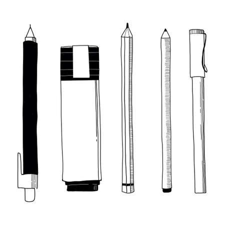 Vector illustration of stationery - pen; pencil; marker. Hand drawn doodle. Outline sketch.