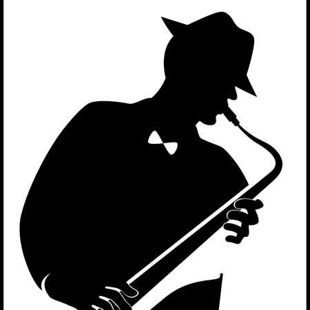 Jazzman con un sassofono Vettoriali
