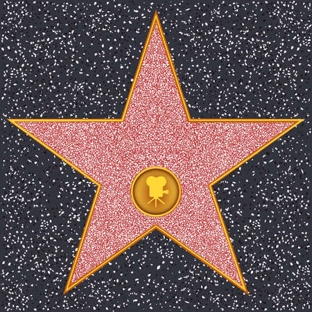 walk of fame: Hollywood Walk of Fame - Classic film camera representing motion picture