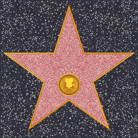 Macchina fotografica: Hollywood Walk of Fame - fotocamera a pellicola Classic rappresenta motion picture Vettoriali