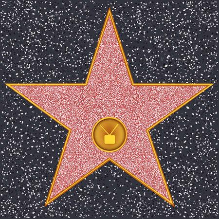 할리우드 스타 명예의 전당 - 텔레비전 수신기 대표하는 TV 방송 일러스트