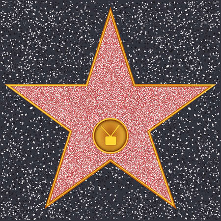 hollywood star: Hollywood Walk of Fame - Television receiver representing broadcast television Illustration