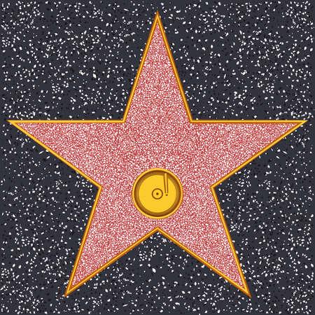 procházka: Hollywood Walk of Fame - gramofonové desky představující zvukového záznamu nebo hudbu