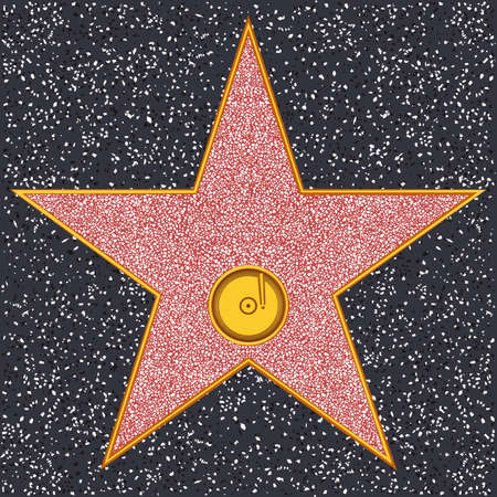 Hollywood Walk of Fame - Phonograph record representing audio recording or music Vector