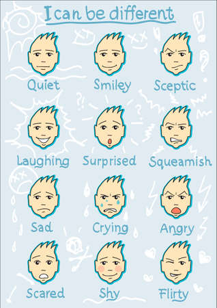 Twelwe Different Face Expressions quiet smiley sceptic laughing surprised squeamish sad crying angry scared shy flirty