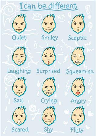 face expressions: Twelwe Diferentes expresiones de la cara sonriente de risa tranquila esc�ptico sorprendido triste llorando enojado coqueta t�mido miedo aprensivo