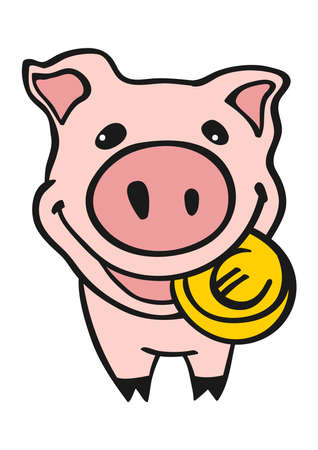 bankrupt: Piggy bank with euro coin  in the mouth