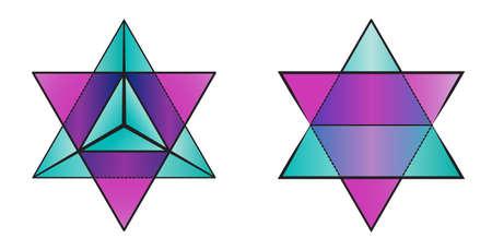 tetraedro: simbolo geometria di merkaba - due piramidi