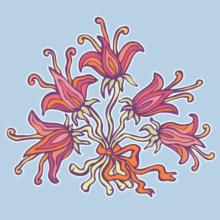 Bunch of Colorful retro Lilies with a ribbon