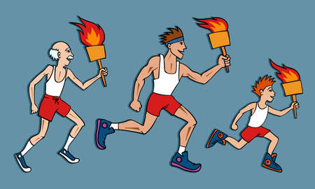 succession: Three Generations Participating in Torch Relay Old Man Boy