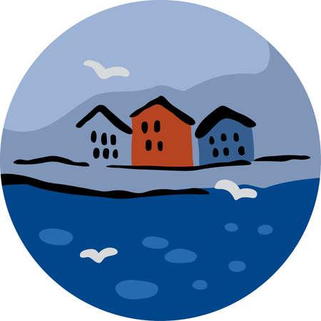 mediterranean homes: Three Houses and Seagulls near the Sea