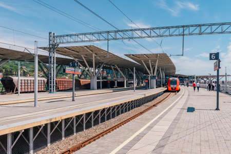 cross ties: SOCHI, RUSSIA, MAY 3, 2015: Lastochka Train at Olympic Park Station