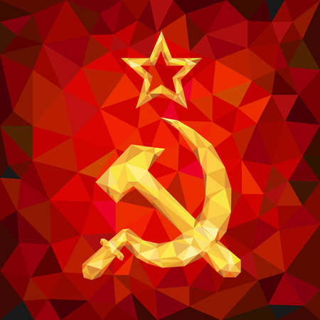 ussr: Sickle and Hammer Emblem of USSR in Polygon Style