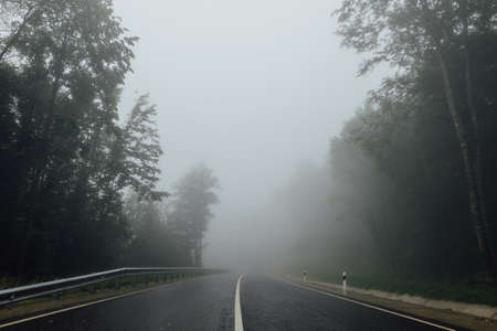 separating: Road with separating strip in the fog among the forest