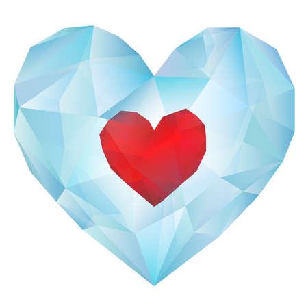 Red Heart in Transparent Ice Polygonal Style