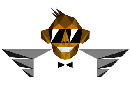 flying monkey: Winged Monkey Chimp with Sunglasses in Polygonal Style
