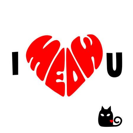 I Meow You Shape of Heart Symbol of Love Illustration