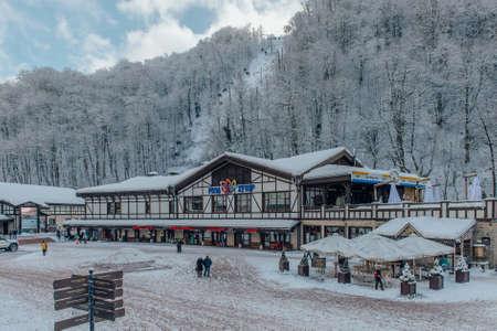 Rosa Khutor, Sochi, Russia, December 17 2016 Winter in the Caucasian mountains Editorial